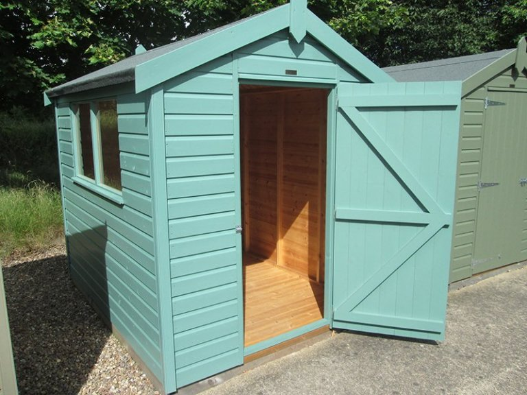 1.8 x 2.4m Classic Shed at our Nottingham Show Site with open door