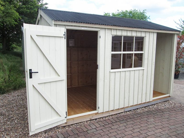 2.4 x 3.6m National Trust Blickling Garden Shed at our Nottingham Show Site in shade Dome Ochre