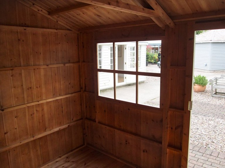 Inside our 2.4 x 3.6m National Trust Blickling Garden Shed at our Nottingham Show Site with Georgian-style window