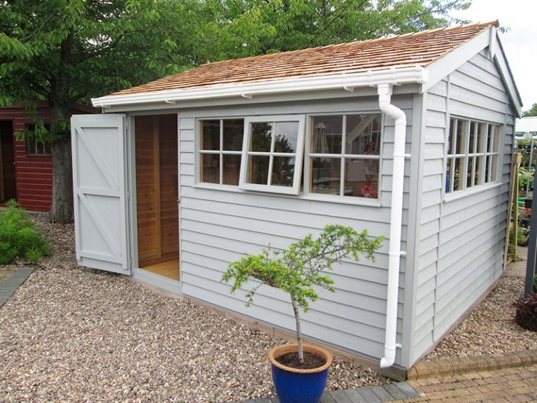 3.0 x 3.6m Superior Shed at our Nottingham Show Site in the shade Pebble