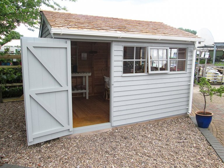 3.0 x 3.6m Superior Shed at our Nottingham Show Site with weatherboard cladding