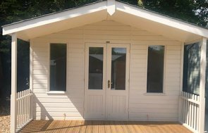 3.6 x 4.8m Morston Summerhouse at our Sunningdale Show Site with double doors