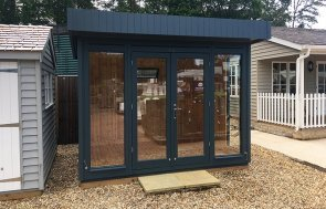 2.4 x 3.0m Salthouse Studio at our Sunningdale Show Site in the shade Slate from our exterior paint system