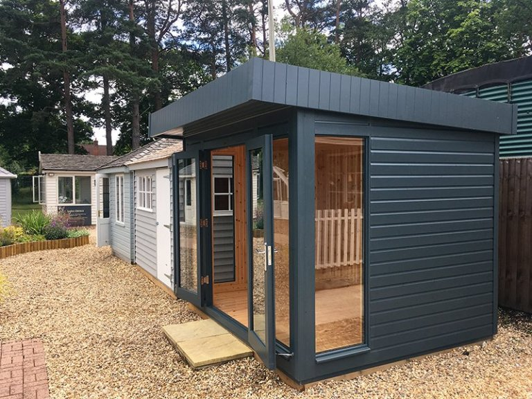 Side view of the 2.4 x 3.0m Salthouse Studio at our Sunningdale Show Site