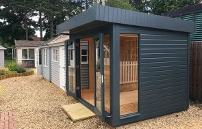 Side view of the 2.4 x 3.0m Salthouse Studio at our Sunningdale Show Site with floor-to-ceiling windows