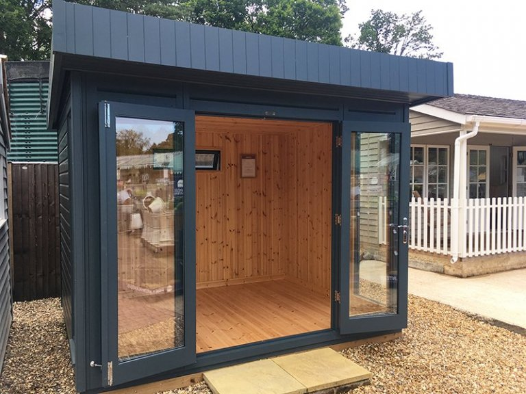 2.4 x 3.0m Salthouse Studio at our Sunningdale Show Site with both doors open