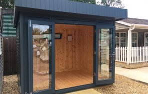 2.4 x 3.0m Salthouse Studio at our Sunningdale Show Site with both doors open and floor-to-ceiling windows