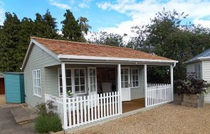 6.0 x 6.0m Pavilion Garden Room at our Burford Show Site painted in Farrow & Ball French Gray