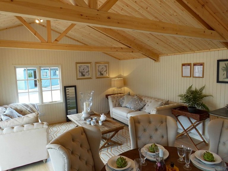 Inside our 6.0 x 6.0m Pavilion Garden Room at our Burford Show Site