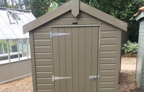 1.5 x 2.1m Classic Shed at our Sunningdale Show Site in the colour Stone from our classic paint system