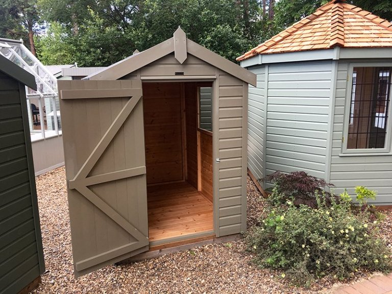 1.5 x 2.1m Classic Shed at our Sunningdale Show Site with apex roof in the colour Stone