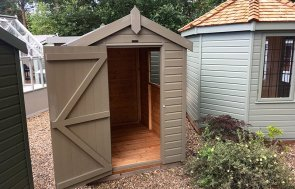 1.5 x 2.1m Classic Shed at our Sunningdale Show Site with apex roof in the colour Stone from our classic paint system