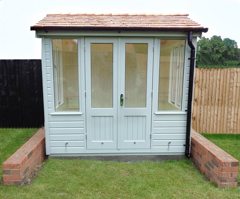 Stunning Holkham summerhouse in Verdigris with smooth shiplap cladding