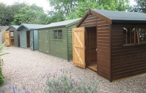 A collection of our classic and superior sheds at our Nottingham Show Site