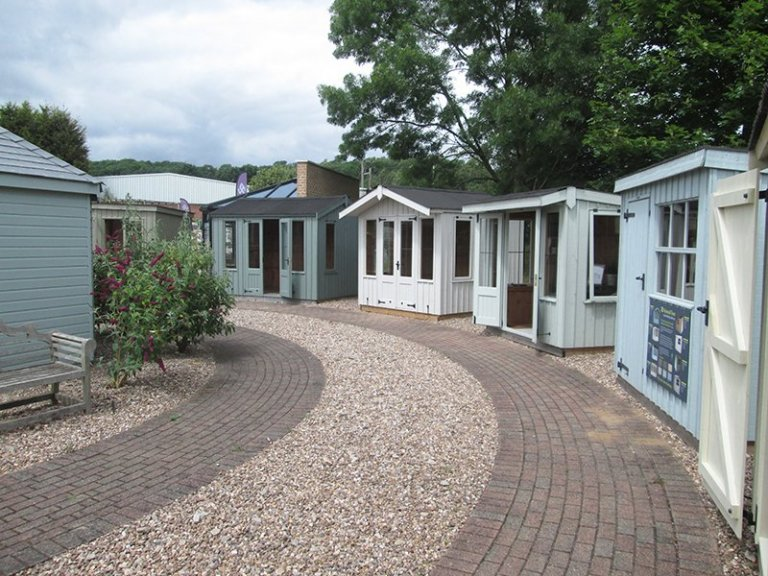 A collection of National Trust garden buildings at our Nottingham Show Site including sheds and summerhouses