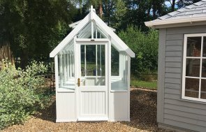 1.8 x 2.4m greenhouse at our Sunningdale Show Site in the shade Ivory from our exterior paint system