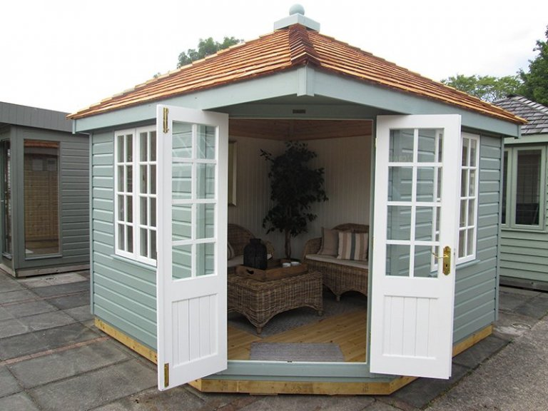 3.0 x 3.0m Weybourne Summerhouse at our Nottingham Show Site with open door