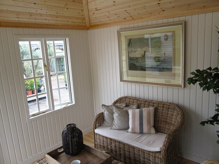 Take a look inside our 3.0 x 3.0m Weybourne Summerhouse at our Nottingham Show Site