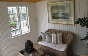 Take a look inside our 3.0 x 3.0m Weybourne Summerhouse at our Nottingham Show Site in the shade Sage from our exterior paint system