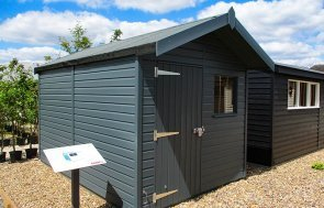 2.4 x 3.6m Superior Shed at our Brighton Show Site in the shade Slate from our exterior paint system