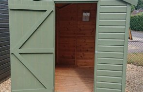 1.8 x 2.4m Classic Shed at Our Newbury Show Site painted in the colour Moss from our Classic Paint System