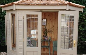 1.8 x 2.5m Wiveton Summerhouse at our Newbury Show Site in the shade Taupe