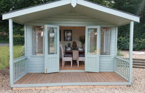3.6 x 4.8m Morston Summerhouse at our Newbury Show Site in colour Sage