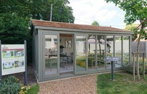 4.2 x 5.4m Burnham Studio at our Newbury Show Site in the colour Ash from our exterior paint system