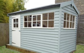 Superior Garden Shed in Avening Gloucestershire in Verdigris