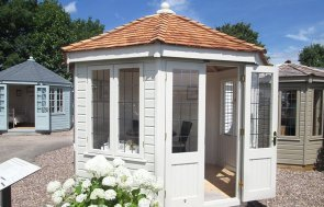 3.0 x 3.0m Wiveton Summerhouse in Farrow & Ball Old White at our Nottingham Show Site