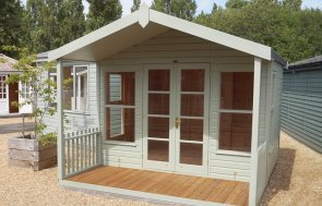 3.0 x 3.6m Morston Summerhouse at our Burford Show Site in the colour Lizard