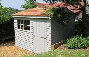 Superior Shed in Valtti Pebble with cedar shingle roof tiles