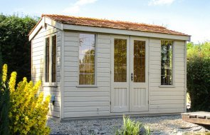 Holkham Summerhouse with leaded windows and cedar shingle roof tiles