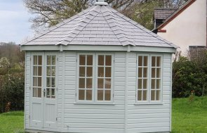 Pretty Wiveton Summerhouse in Ellesmere, Shropshire in Verdigris from our exterior paint system