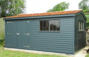 Large Superior Shed  with double doors, cedar shingle roof tiles, and painted in Valtti Slate