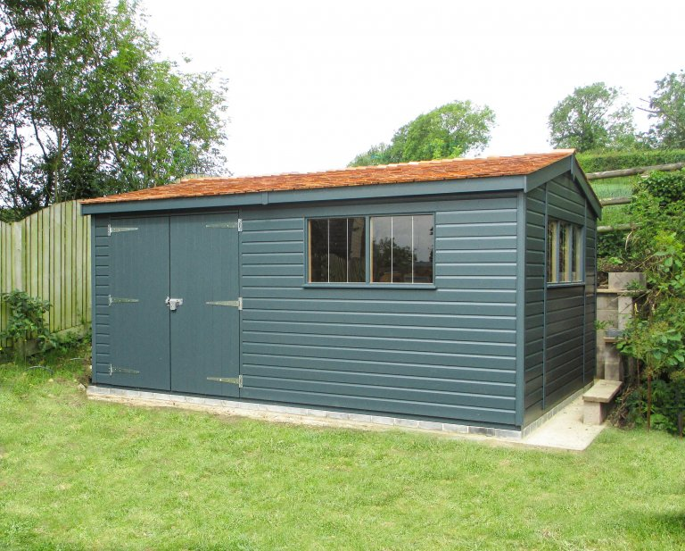Large Superior Shed with double doors, cedar shingle roof tiles, and painted in Slate