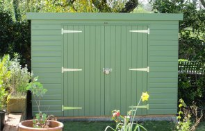 Superior Shed with pent roof in Lizard paint and double doors