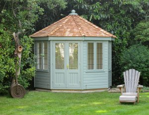 3.0 x 3.0m Wiveton Summerhouse with leaded windows in Exterior Paint System Sage paint