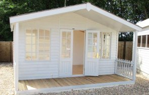 4.2 x 4.2m Morston Summerhouse at our Cranleigh show site with shaded Veranda
