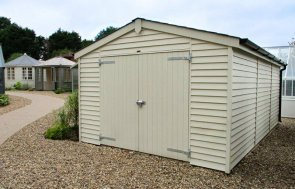 3.6 x 3.0m Garage at our Cranleigh Show Site in the colour Sandstone from our exterior paint system