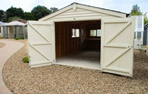 3.6 x 6.0m Garage at our Cranleigh Show Site in the colour Sandstone from our exterior paint system