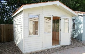3.6 x 3.0m  Binham Studio at our Cranleigh Show Site in French Gray from the Farrow & Ball exterior paint system