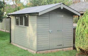 2.4 x 3.6m Superior Shed in Valtti Ash paint with a roof overhang and grey slate effect tiles