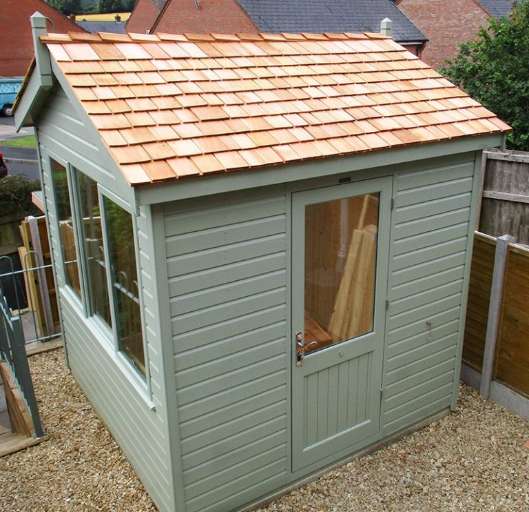 Lovely 2.4 x 2.4m Langham Studio in the colour Lizard from our external paint system