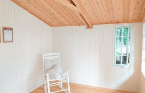 Morston Summerhouse Interior with painted matchboard lining in Ivory, and insulation