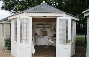 3.6 x 3.6m Wiveton Summerhouse in Valtti Cream at Brighton Show Site