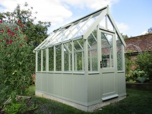 1.8 x 3.0m Victoria Greenhouse in Lizard with two workbenches