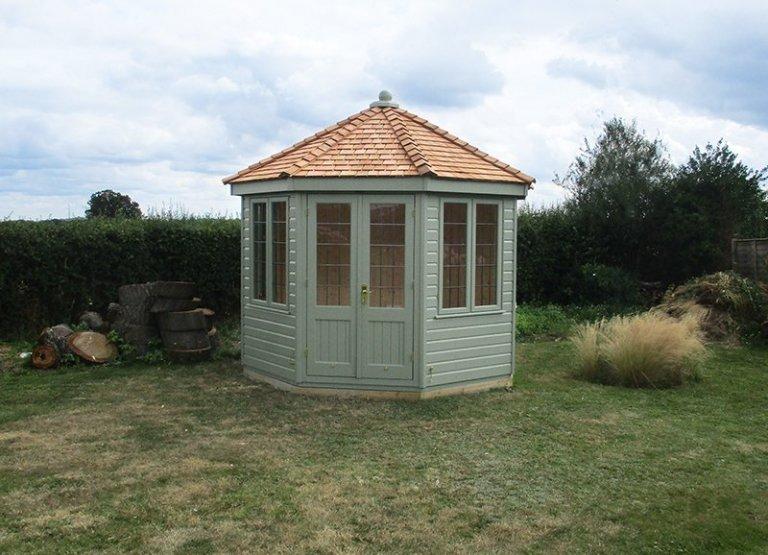3.0 x 3.0m Wiveton Summerhouse in Lizard with Cedar Shingle tiles on the roof