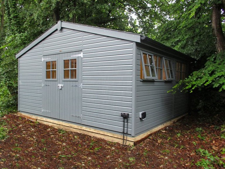 4.8 x 4.2m Superior Shed with Storage Partition in Farrow & Ball Down Pipe