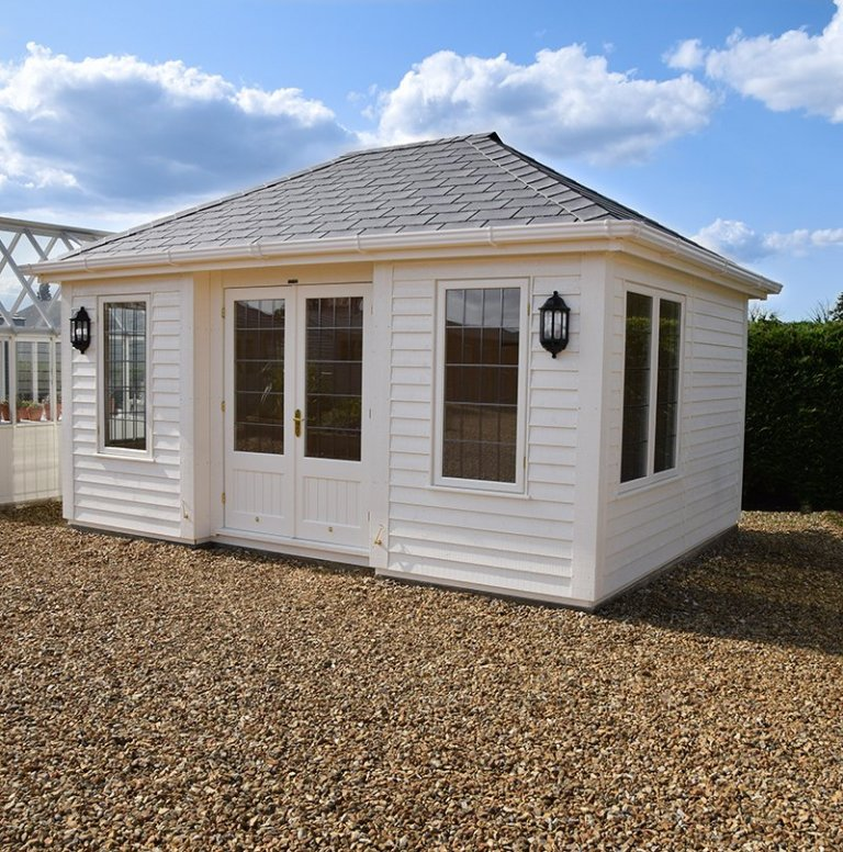 Side view of the 3.6 x 4.8m Garden Room at our Narford HQ